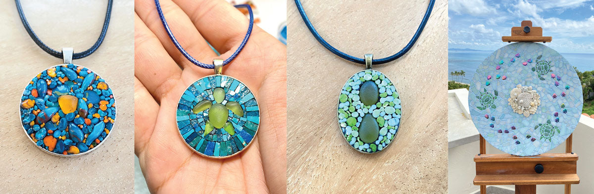 sea glass and tile mosaic jewelry and art