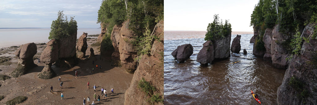 Hopewell Rocks in the Bay of Fundy, New Brunswick, Canada, at low tide and high tide, where the tidal range can be up to 53 feet