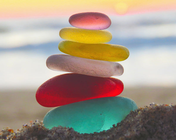 stack of sea glass by tidecharmers
