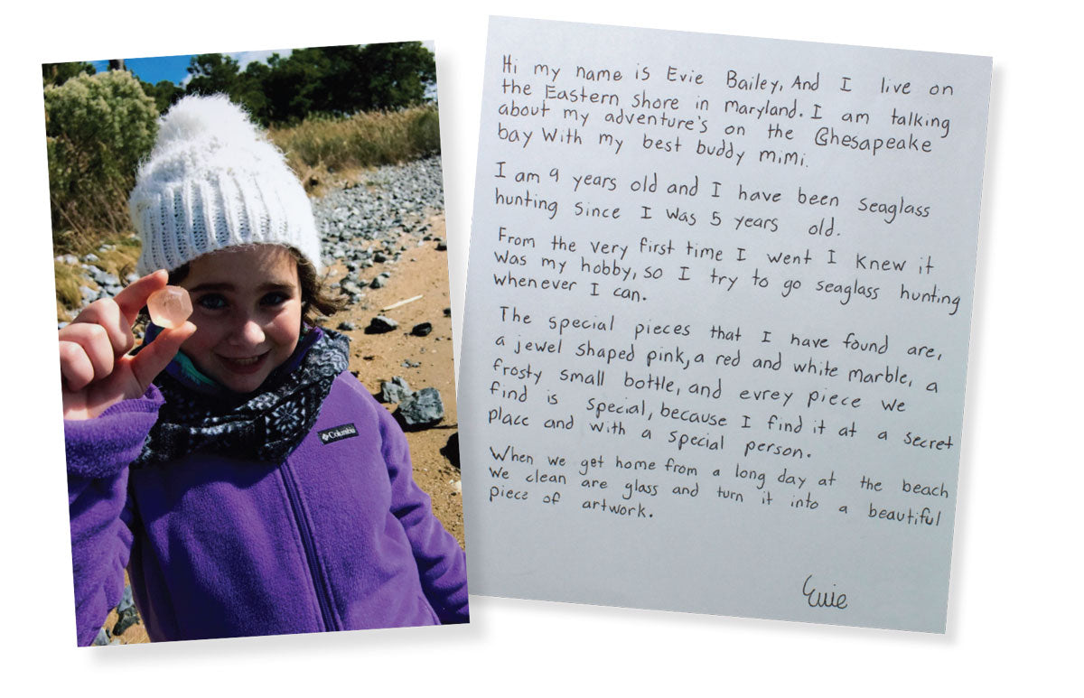 letter from girl about cool pink beach glass find