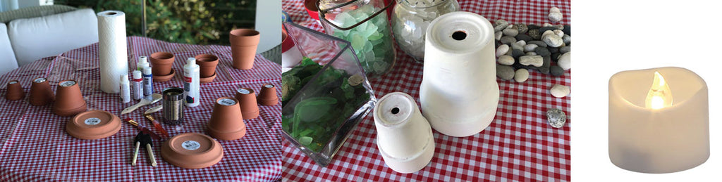 supplies to make a lighthouse from flower pots