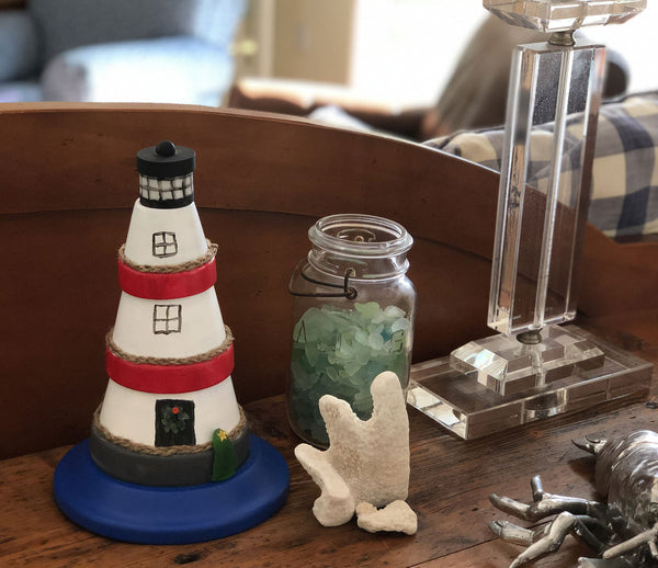 coastal decor flowerpot lighthouse