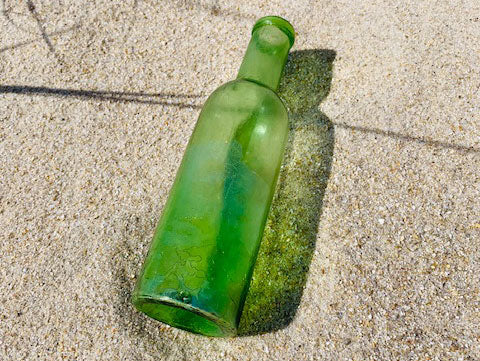 lime green beach glass bottle