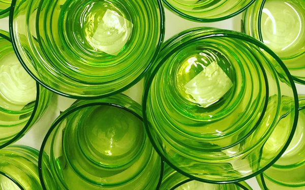 lime green drinking glasses