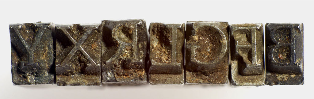 Upper and lowercase letters of Doves Type discovered in the Thames, by Karl Donovan.