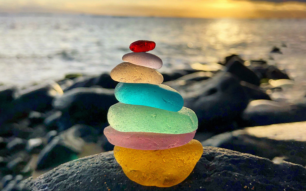 colorful sea glass stack from maui hawaii