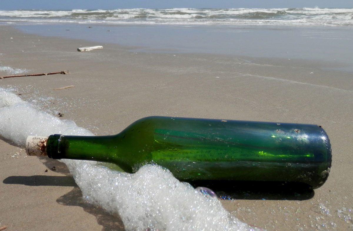 bottle washed up on beach with letter inside