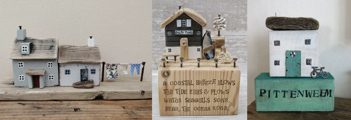 beach huts made from driftwood