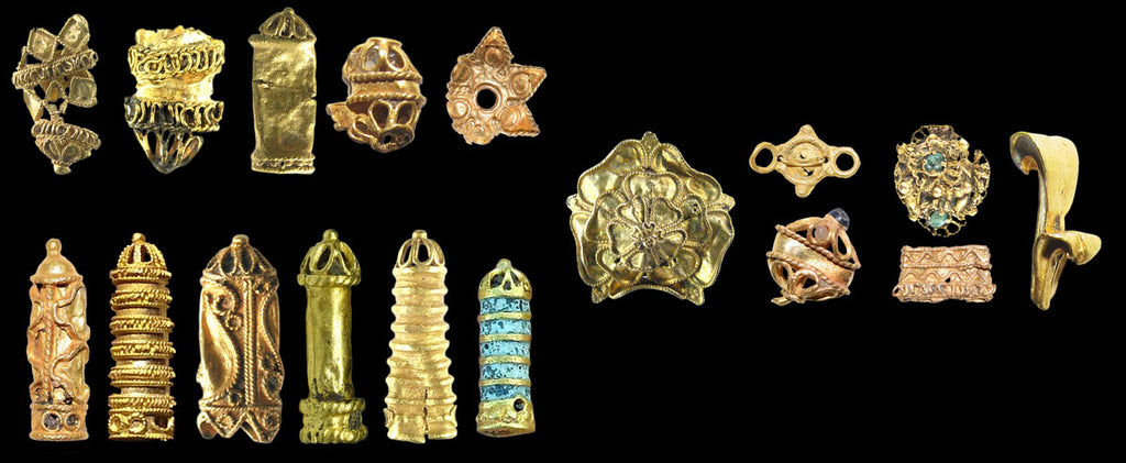 udor gold ornaments (Portable Antiquities Scheme, collage by Nick Stevens)