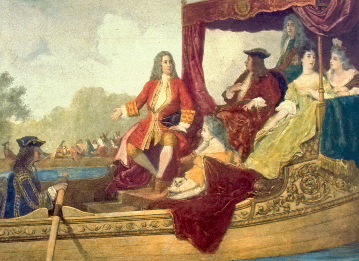 handel and king george on barge in thames
