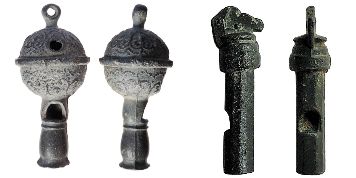 Post-medieval whistle with floral decoration 18th-century hawking whistle
