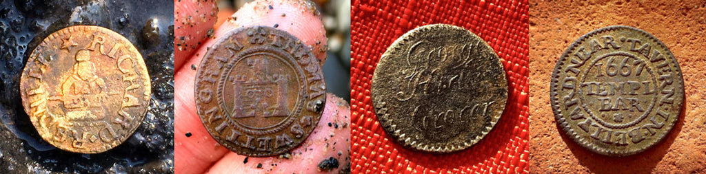 rade token from a candlestick maker, trade token from a grocer in Grubb Street, Stag tavern trade token, Castle tavern trade token, Jason Sandy.