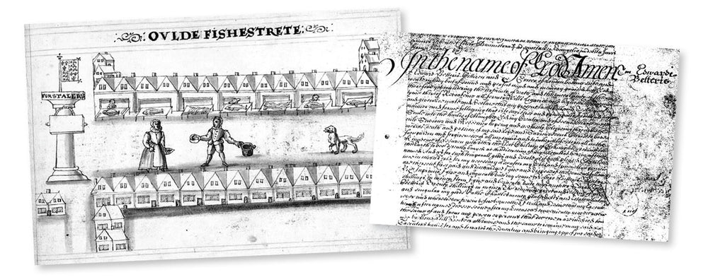 Historic illustration of the shops in  Old Fish Street in the 17th century. Edward Betteris's will,  National Archives, UK.