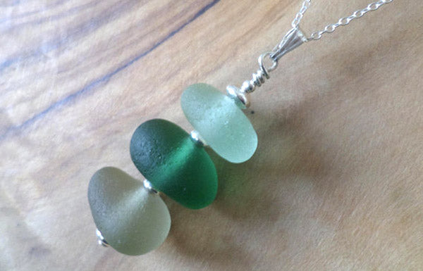 stacked beach glass pendant