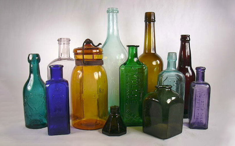 collection of antique american glass bottles
