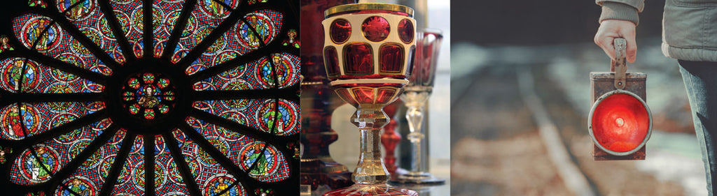 red stained glass goblet lantern