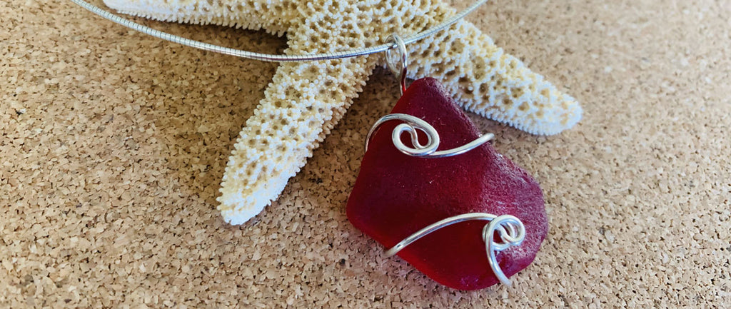necklace made with red sea glass
