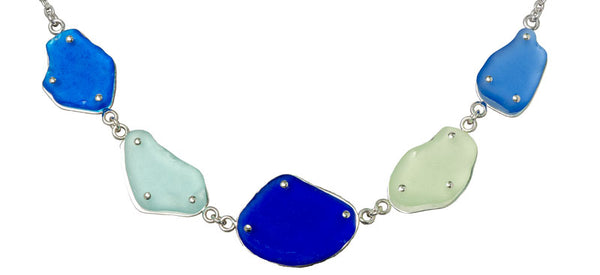 sea glass riveted necklace