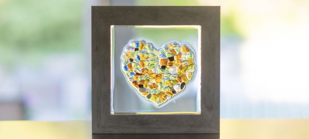 framed sea glass and epoxy art