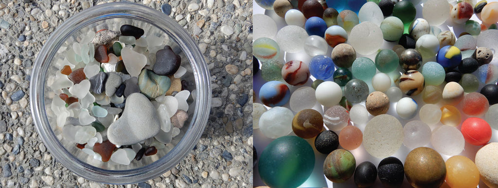 sea glass marbles and hearts