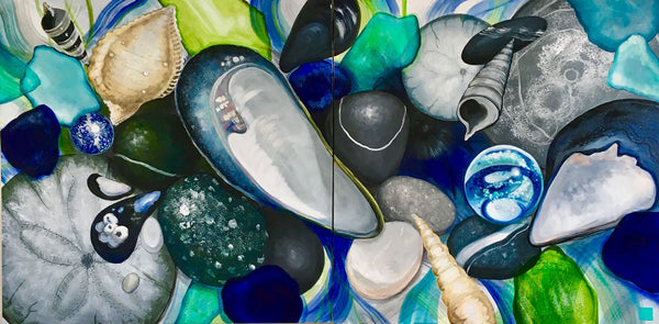 mussel shells beach glass painting