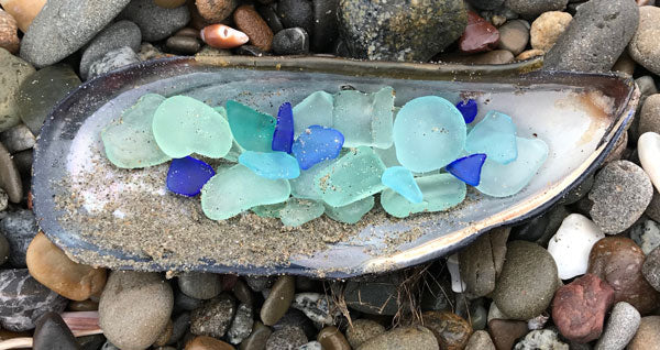 blue sea glass from california