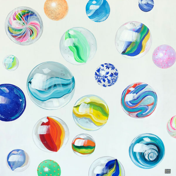 beach marbles painting