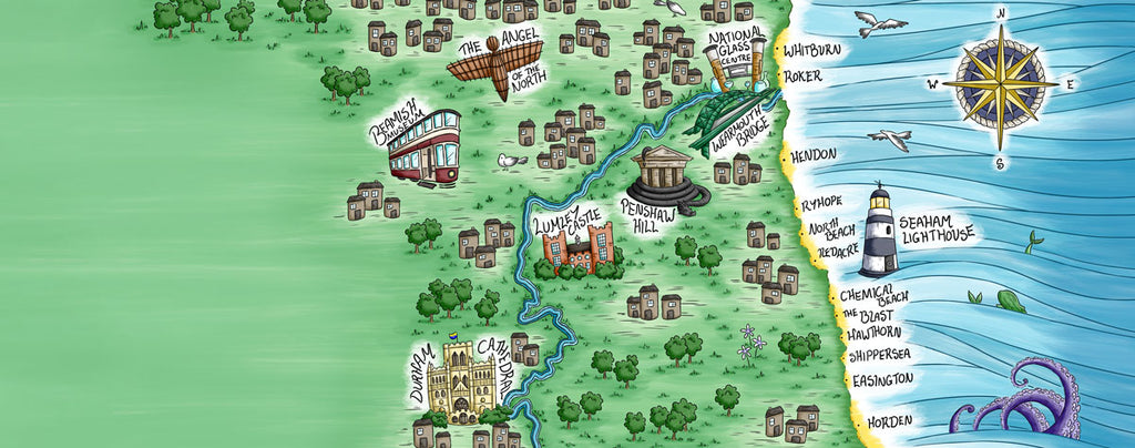 Hand-drawn illustration, North East coastline and the beaches nearest to Seaham, by Becky Bumble