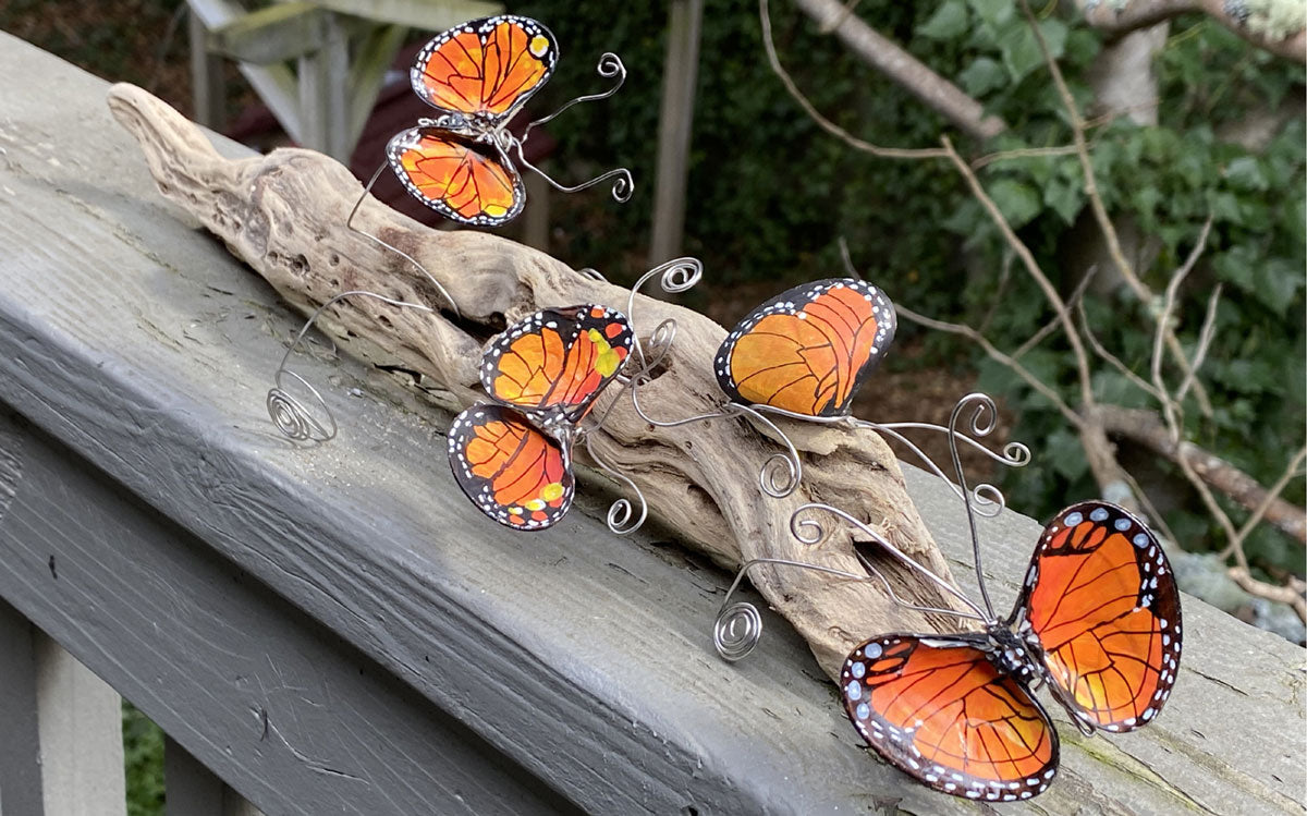 monarch butterfly sculptures made with shells