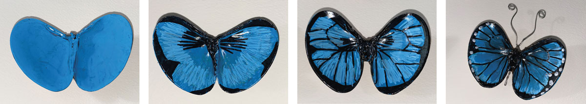 wing design for painted butterfly with seashells