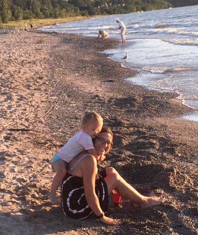shanda and granddaughter on beach