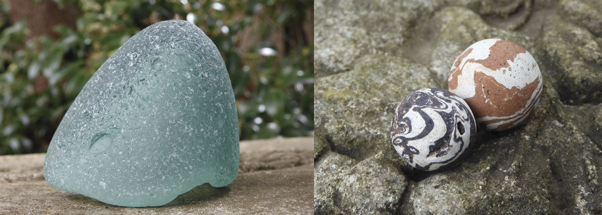 scottish sea glass torpedo bottle and clay beach marbles