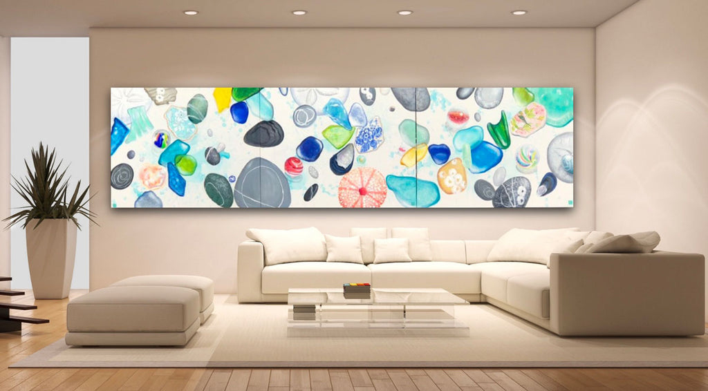 sea marble painting in home large scale
