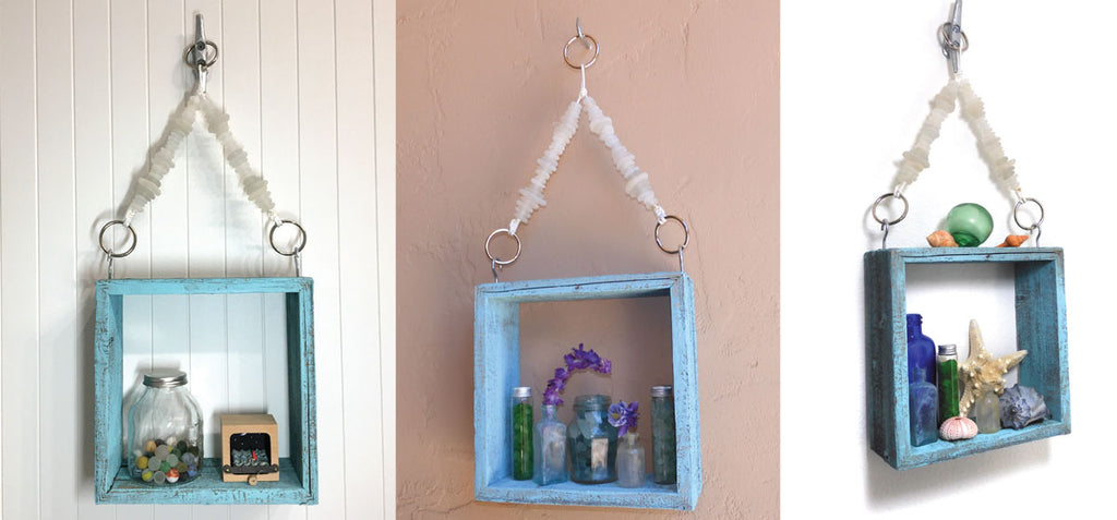 hanging shelf with sea glass cord