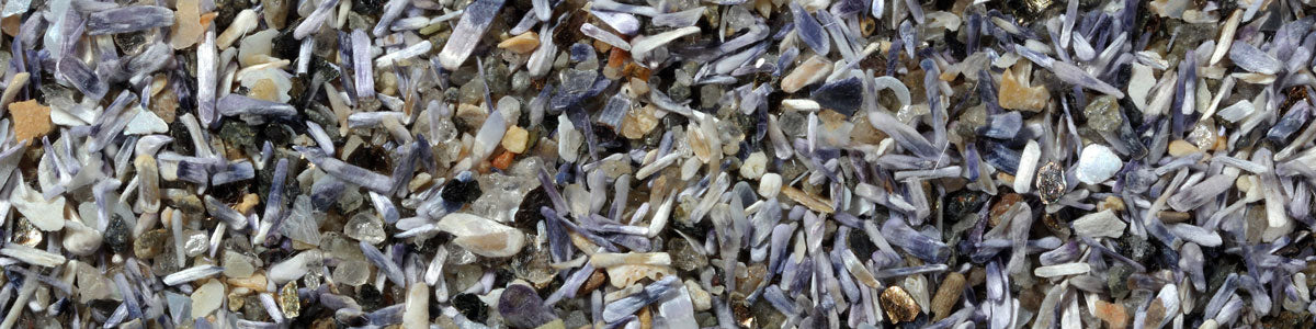 blue beach sand from mussel shells under microscope