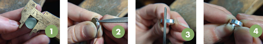 making sea glass ring step-by-step set up