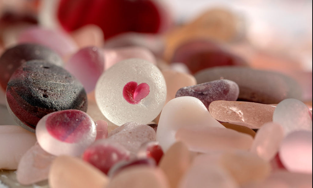pink sea glass and beach glass
