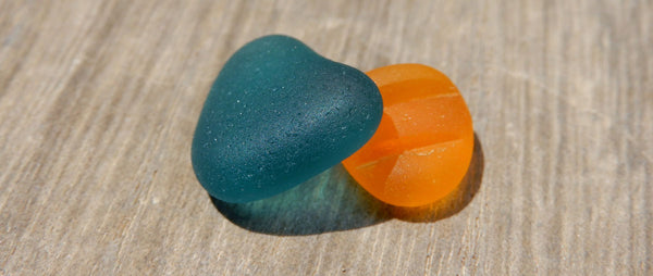 teal sea glass vs. orange sea glass