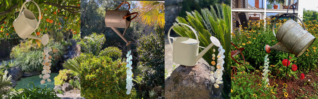 seashell and sea glass watering can wind chime