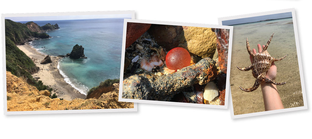 japanese beach glass and sea marbles and seashells