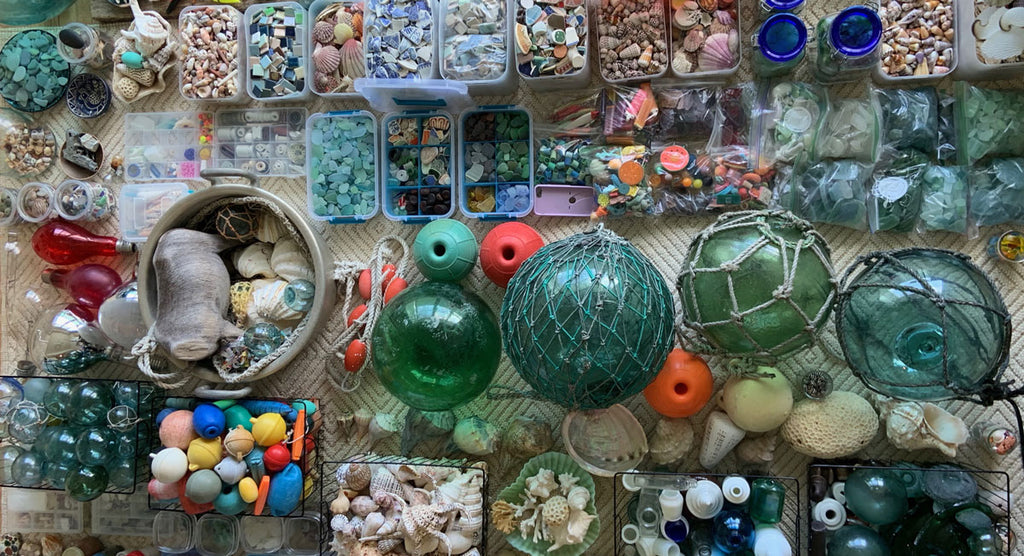 huge japanese beachcombing collection sea glass floats pottery shells