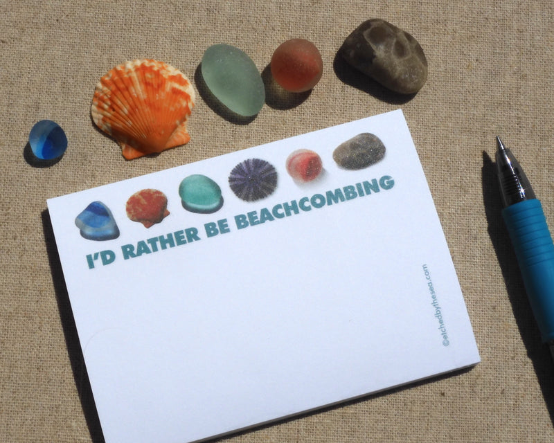 I'd Rather Be Beachcombing Sticky Notes - FREE U.S. Shipping