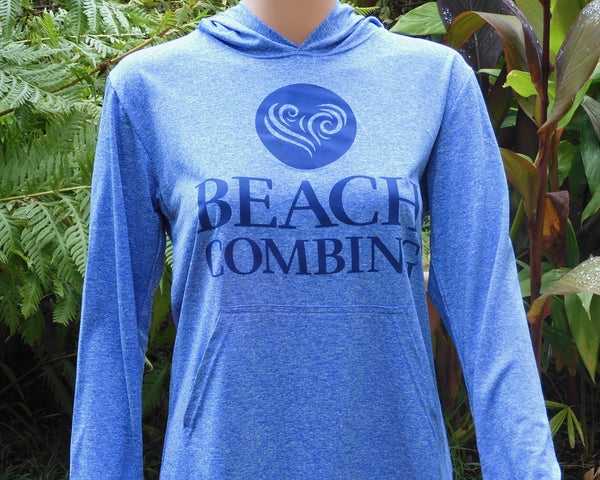 Beachcombing Hooded Long Sleeve Tee Shirt with Pouch Pocket - Size S