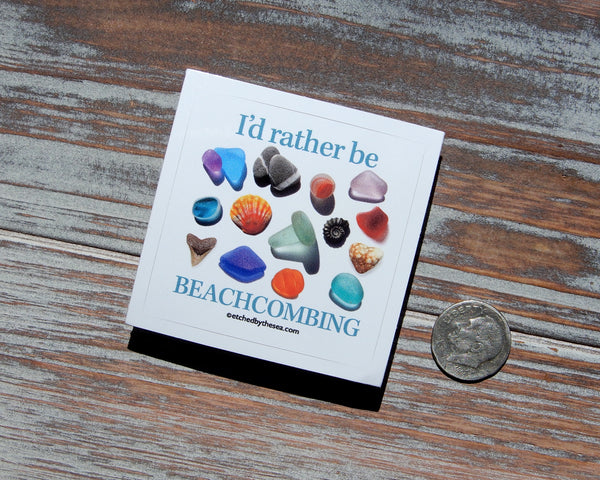 I'd Rather Be Beachcombing Square Mini Sticker - FREE U.S. Shipping