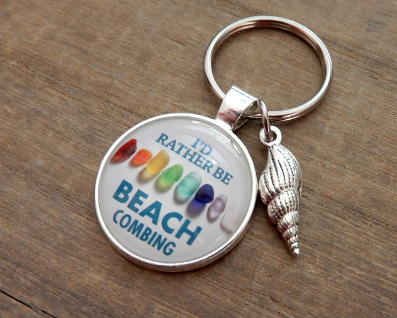 I'd Rather Be Beachcombing Rainbow Sea Glass Key Ring