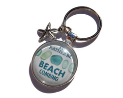 I'd Rather Be Beachcombing Turquoise Sea Glass Key Ring - FREE U.S. Shipping