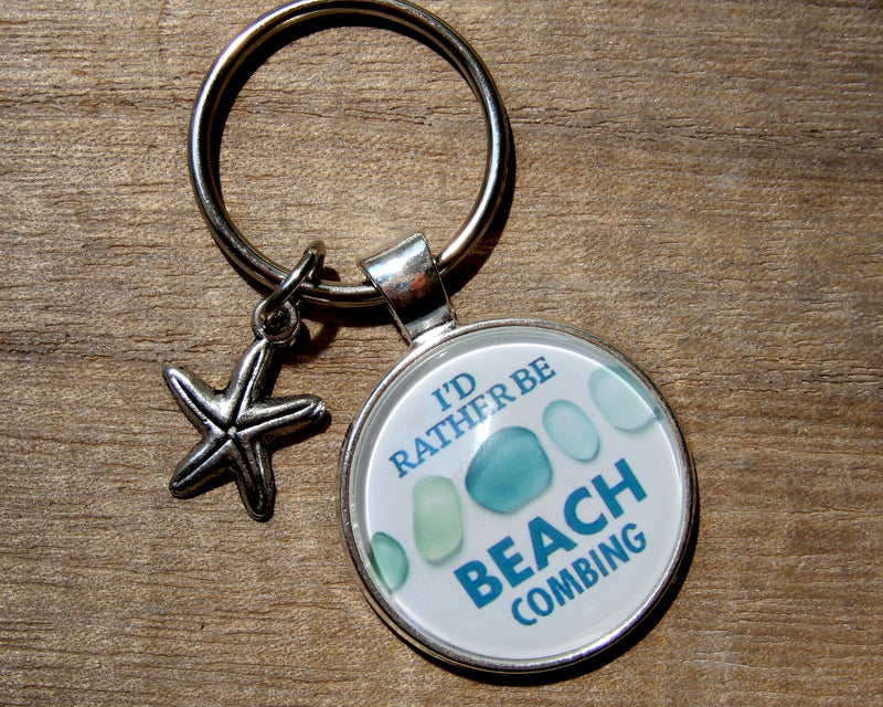 I'd Rather Be Beachcombing Turquoise Sea Glass Key Ring
