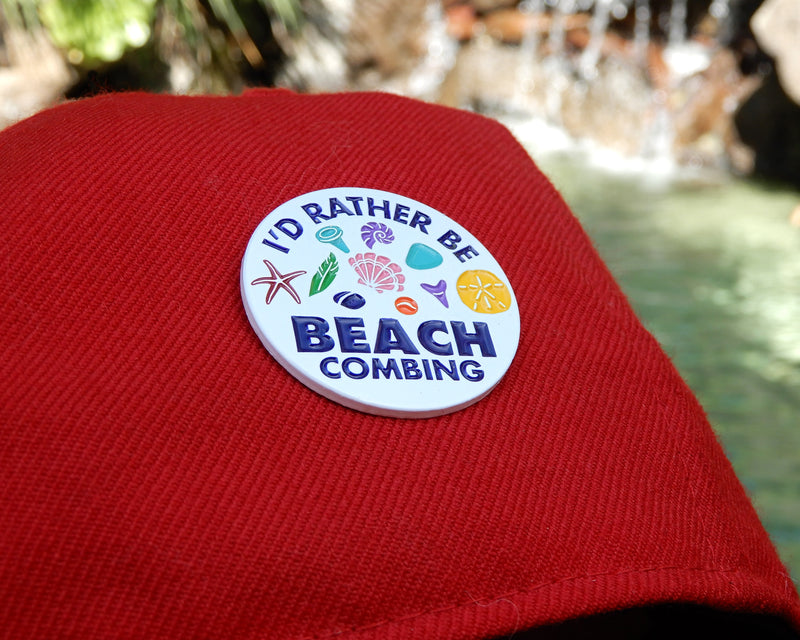 I'd Rather Be Beachcombing Enamel Pin - FREE U.S. Shipping