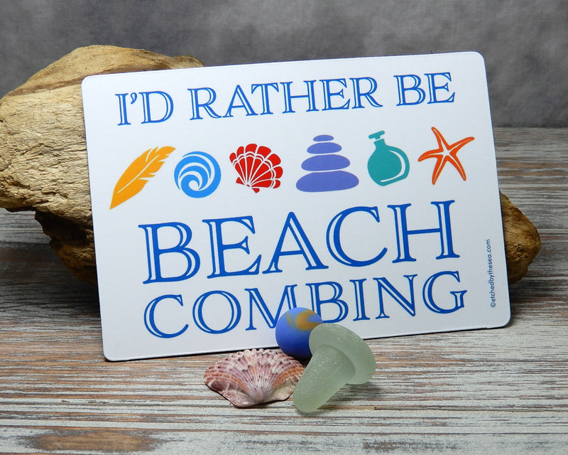 I'd Rather Be Beachcombing Icons Rectangle Magnet - FREE U.S. Shipping