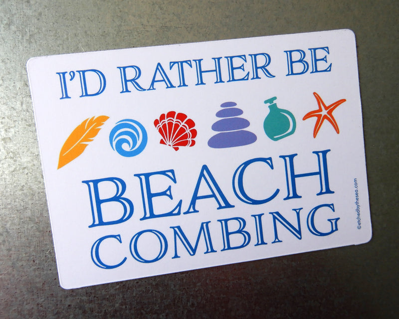 I'd Rather Be Beachcombing Icons Rectangle Magnet